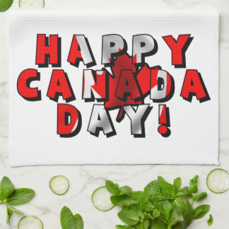 Happy Canada Day Flag Text Towel