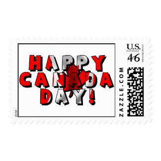 Happy Canada Day Flag Text Postage Stamps