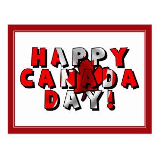 Happy Canada Day Flag Text Postcard