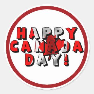 Happy Canada Day Flag Text Round Sticker