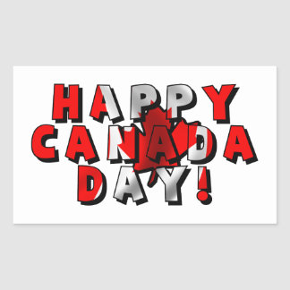 Happy Canada Day Flag Text Rectangular Stickers