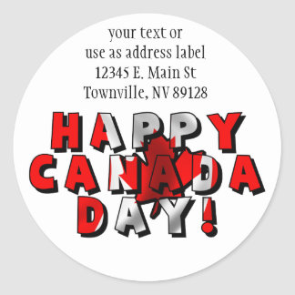 Happy Canada Day Flag Text Round Stickers