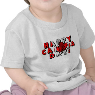 Happy Canada Day Flag Text Shirts