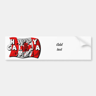 Happy Canada Day Flag Text with Canadian Flag Car Bumper Sticker