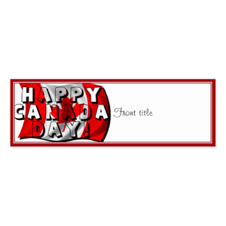 Happy Canada Day Flag Text with Canadian Flag Business Card Template