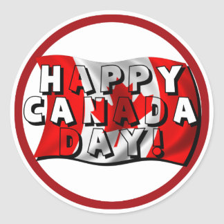Happy Canada Day Flag Text with Canadian Flag Round Stickers
