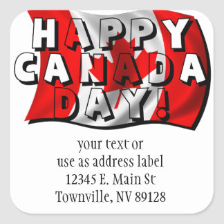 Happy Canada Day Flag Text with Canadian Flag Sticker