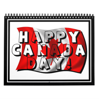 Happy Canada Day Flag Text with Canadian Flag Calendar