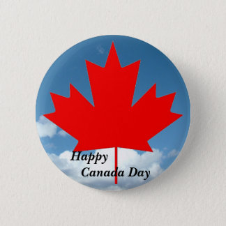 Happy Canada Day maple leaf and blue sky Pinback Button