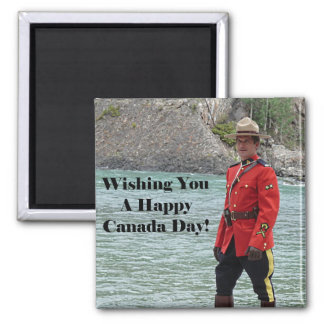 Happy Canada Day Mountie Photo 2 Inch Square Magnet