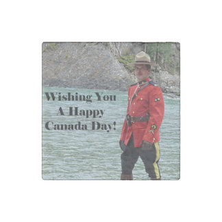 Happy Canada Day Mountie Photo Stone Magnet