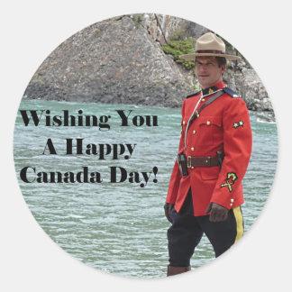 Happy Canada Day Mountie Photo Round Stickers