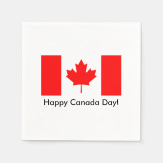 Happy Canada Day napkins with Canadian flag