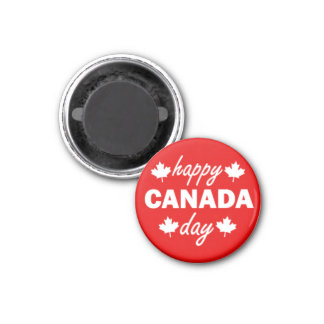 Happy Canada Day on Red 1 Inch Round Magnet