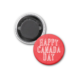 Happy Canada Day on Red Maple Leaf Background 1 Inch Round Magnet