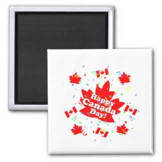 Happy Canada Day Party 2 Inch Square Magnet
