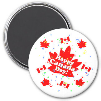 Happy Canada Day Party 3 Inch Round Magnet