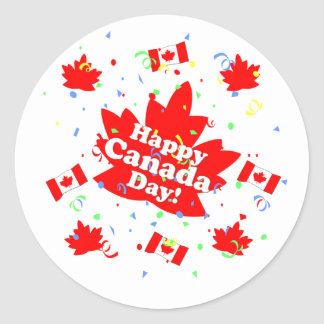 Happy Canada Day Party Round Stickers