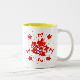Happy Canada Day Party Two-Tone Coffee Mug