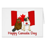 Happy Canada Day Pug and Beaver Pal Tees, Gifts Greeting Card