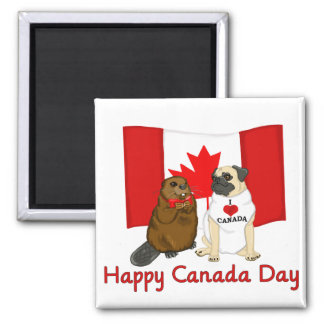 Happy Canada Day Pug and Beaver Pal Tees, Gifts 2 Inch Square Magnet