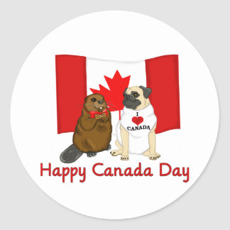 Happy Canada Day Pug and Beaver Pal Tees, Gifts Round Sticker