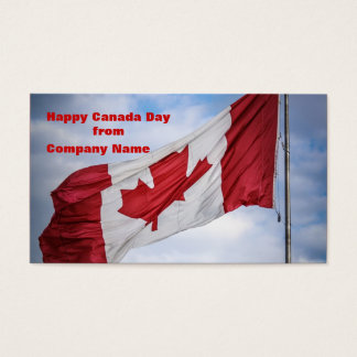 Happy Canada Day Red and White Canadian Flag Business Card