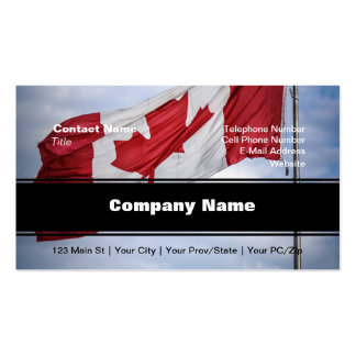 Happy Canada Day Red and White Canadian Flag Business Card Template
