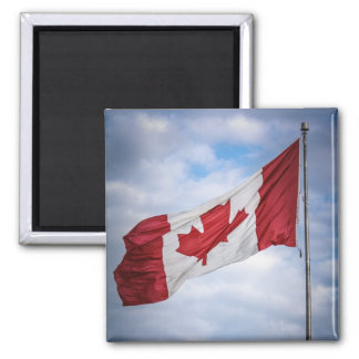 Happy Canada Day Red and White Canadian Flag 2 Inch Square Magnet