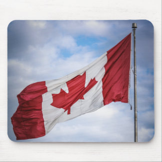 Happy Canada Day Red and White Canadian Flag Mouse Pad