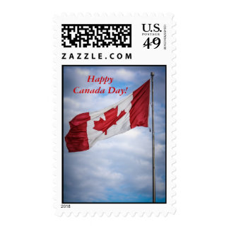 Happy Canada Day Red and White Canadian Flag Postage Stamps