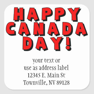 Happy Canada Day Text Image Stickers