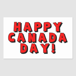 Happy Canada Day Text Image Rectangular Stickers