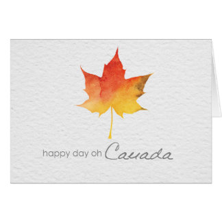 Happy Canada Day watercolor maple leaf Card