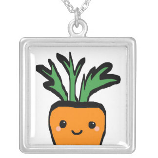 Happy carrot square pendant necklace
