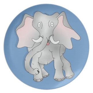 Happy cartoon African elephant Plate