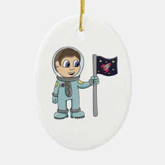 Happy Cartoon Astronaut Holding Rocket Flag Ceramic Ornament