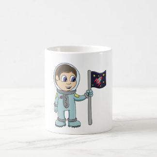 Happy Cartoon Astronaut Holding Rocket Flag Coffee Mug