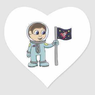 Happy Cartoon Astronaut Holding Rocket Flag Heart Sticker