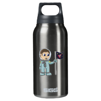Happy Cartoon Astronaut Holding Rocket Flag Insulated Water Bottle