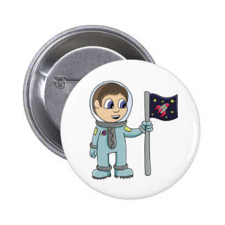 Happy Cartoon Astronaut Holding Rocket Flag Pinback Button