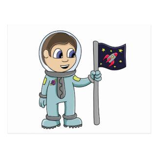 Happy Cartoon Astronaut Holding Rocket Flag Postcard