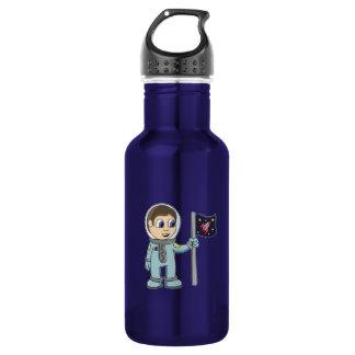Happy Cartoon Astronaut Holding Rocket Flag Stainless Steel Water Bottle