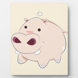 Happy Cartoon Baby Hippo Plaque