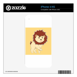 Happy Cartoon Baby Lion Skin For iPhone 4