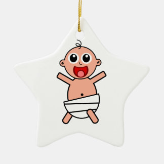 Happy Cartoon Baby Wearing Diaper Ceramic Ornament