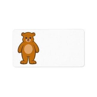 Happy Cartoon Bear Label