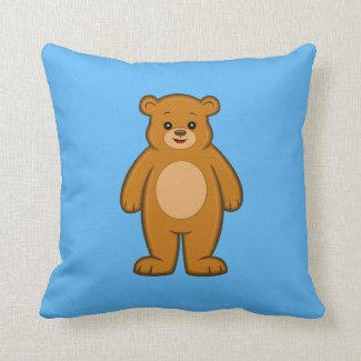 Happy Cartoon Bear Throw Pillow