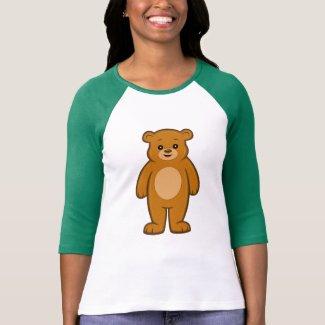 Happy Cartoon Bear Women's 3/4 Sleeve T- Shirt
