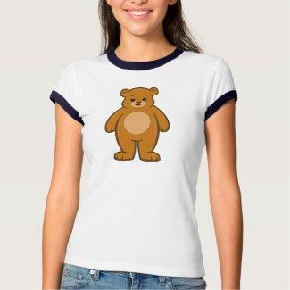Happy Cartoon Bear Women's Ringer T-Shirt